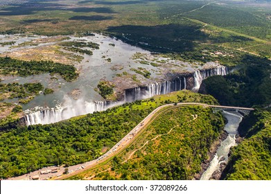 Aerial panorama of the Victoria Falls, Zambia and Zimbabwe. UNESCO World Heritage
