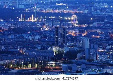 Aerial panorama of Vienna at night. Vienna, Austria.