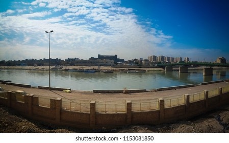 Aerial panorama view to Baghdad city and Tigris promenade from Al-Mustansiriya University and Madrasah at Baghdad, Iraq