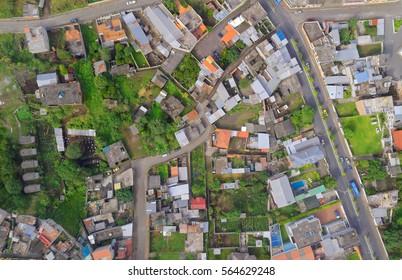 Aerial panorama view of Banos, Ecuador