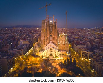 Aerial Panorama view of Barcelona city skyline and Sagrada familia at dusk time,Spain 2019