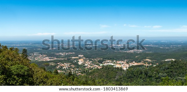 Aerial panorama view from Bussaco, Luso, Mealhada, Aveiro - Portugal.