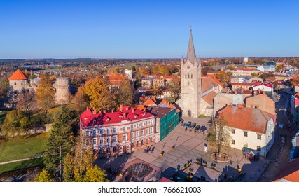 Aerial panorama view of Cesis Old town, Latvia, in sunny autumn day