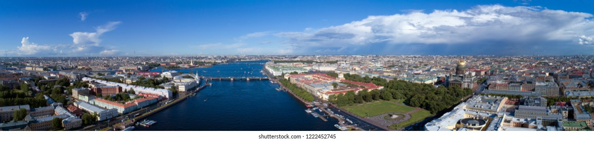 Aerial panorama view of the city center of St. Petersburg, Peter and Paul Fortress, Winter Palace, Saint Isaac's Cathedral Russia