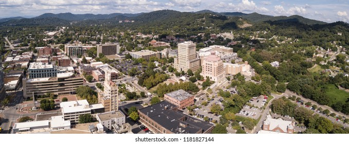 Aerial panorama view of downtown Asheville, North Carolina, USA.