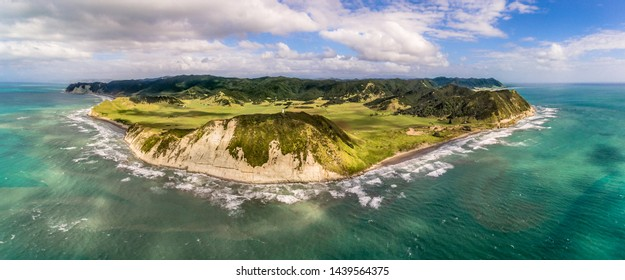 Aerial panorama view of the easternmost point of the main islands of New Zealand, East Cape Lighthouse, North Island.