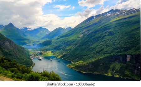 Aerial panorama view to Geiranger fjord from Trollstigen at Norway
