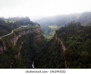Aerial panorama view of green Bogota river at waterfall Salto del Tequendama in Soacha Cundinamarca Colombia South America