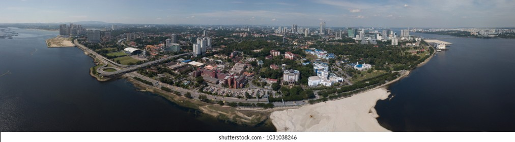 Aerial panorama view of Johor Bahru waterfront/coast from Singapore