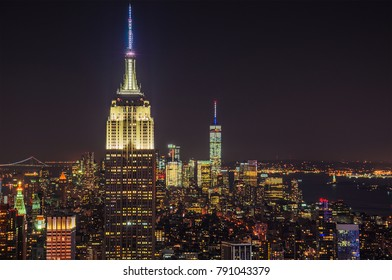 Aerial panorama view of lower Manhattan illuminated at night