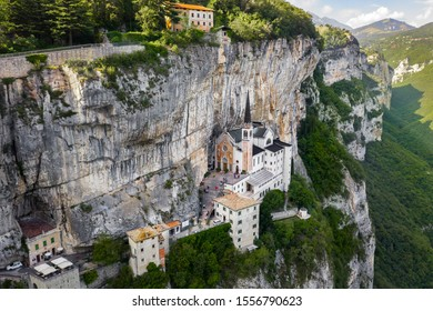 Aerial Panorama View of Madonna della Corona Sanctuary, Italy. The Church Built in the Rock.