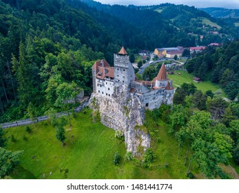 Aerial panorama view of the medieval Bran Castle, known for the myth of Dracula , Dracula Castle in Brasov, Transylvania. Romania.