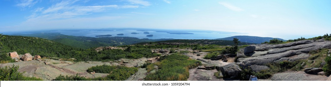 Aerial Panorama View of Mount Desert Narrows, Frenchman Bay, Atlantic Ocean, and Various Islands from Cadillac Mountain Scenic Vista, Acadia National Park, Maine, USA