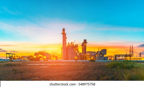 Aerial panorama view Oil and gas industry,refinery factory,petrochemical plant area at Sunrise with cloudy sky