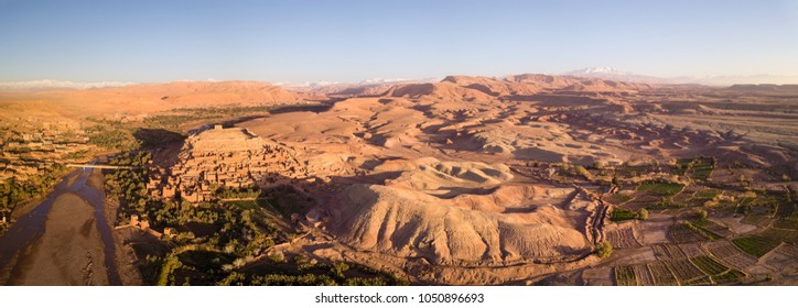 Aerial panorama view on Kasbah Ait Ben Haddou old city in the Atlas Mountains, Morocco