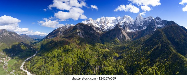 Aerial panorama view on mountains in Triglav national park in Slovenia at spring
