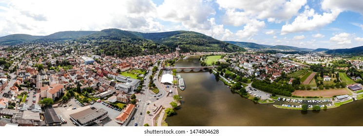 Aerial Panorama  view on old german town Miltenberg am Main river, Castle, St. Jacob catholic church, Main bridge.  Odenwald, Bavaria, Germany