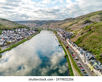 Aerial Panorama view on Zell am Mosel. Beautiful historical town on the loop of romantic Moselle river. Rhineland-Palatinate, Germany, between Trier and Koblenz