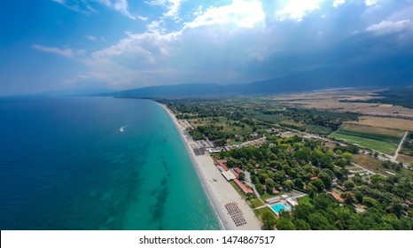 Aerial panorama view over the coastal town, sea and beach of Plaka Litochorou in Pieria, central Macedonia, Greece