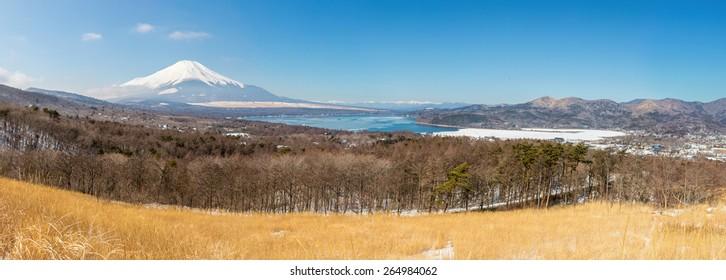 Aerial panorama view point of Mount Fuji at Yamanaka Lake in Winter