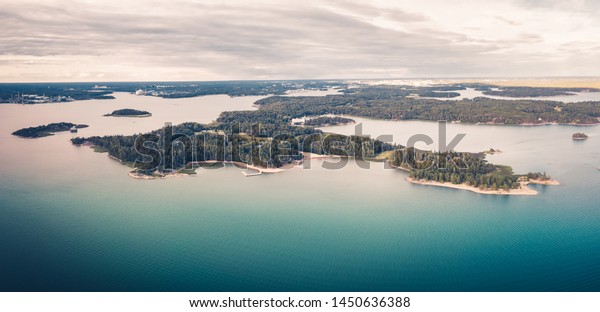 Aerial panorama view of Ruissalo, Turku, Finland.