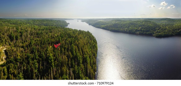 Aerial panorama view of the Saguenay river in Quebec, Canada