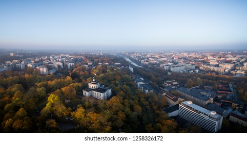 Aerial panorama view of Turku Finland on autumn morning