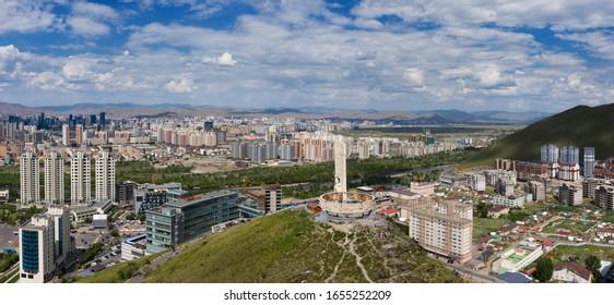 Aerial panorama view of Ulaanbaatar city and Memorial on Zaisan Tolgoi, Mongolia