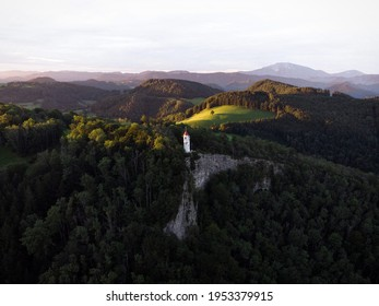 Aerial panorama view of white observation on cliff edge Urlingerwarte on Blassenstein mountain hill in Scheibbs Lower Austria alps Europe
