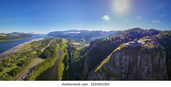 Aerial panorama of Vista House and the Columbia River Gorge at 780 feet on a sunny day