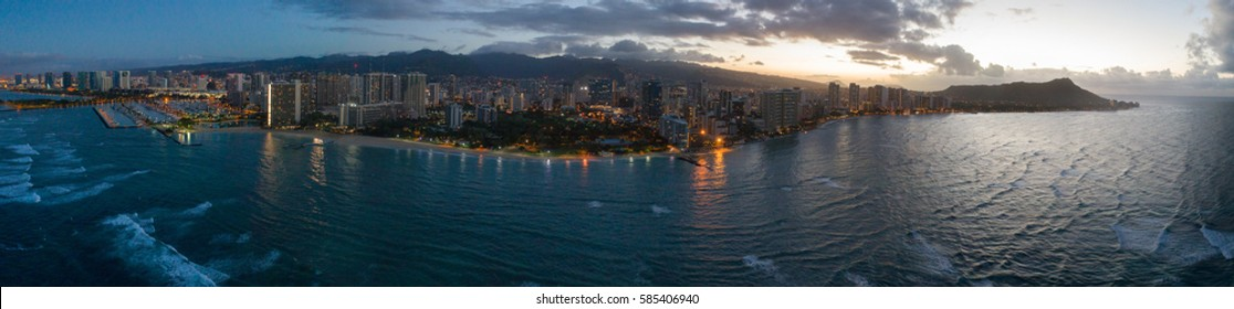 Aerial panorama of Waikiki Beach Oahu Hawaii, USA