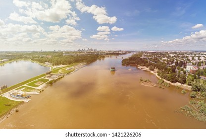 Aerial panorama of Warsaw, capital of Poland