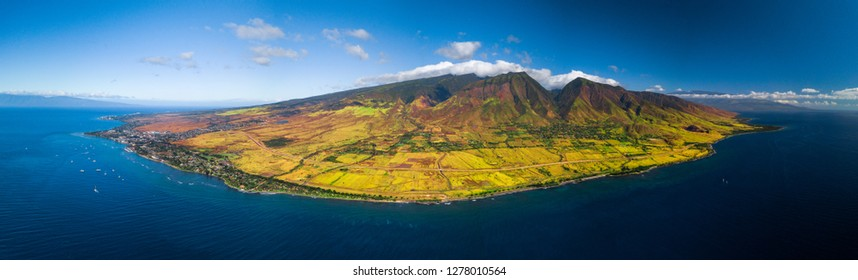 Aerial panorama of the west coast of Maui near the town of Lahaina, Hawaii, USA