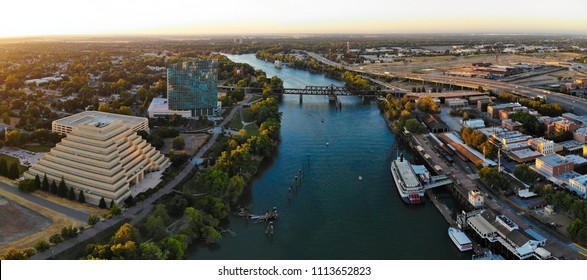 Aerial Panorama of West Sacramento by the river
