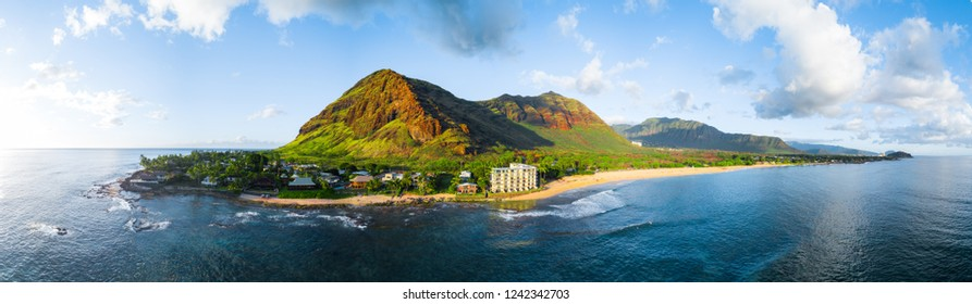 Aerial panorama of the western coast of the island of Oahu, Hawaii, USA
