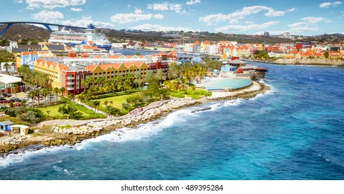 Aerial panorama of Willemstad town in Curacao
