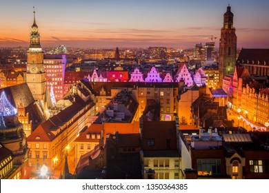 Aerial panorama of Wroclaw at sunset. Wroclaw, Lower Silesian, Poland.