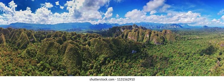 Aerial panoramatic view of rocks, Ketepu peak and jungle in the North Kalimantan (Borneo), Indonesia