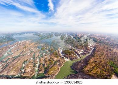 Aerial panoramic 4000 islands Mekong River in Laos, Li Phi waterfalls, famous travel destination backpacker in South East Asia