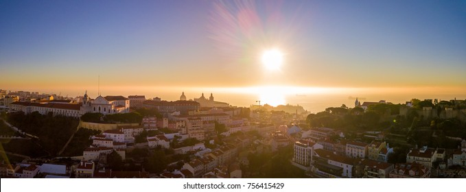 Aerial panoramic birds eye view of the old town of Lisbon, Portugal. Amazing panorama scene with São Jorge Castle