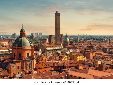 Aerial panoramic cityscape of Bologna, Italy,  above rooftops of  typical houses, ancient buildings and medieval towers