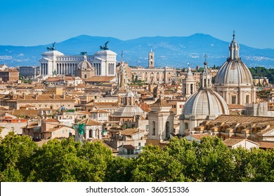 Aerial panoramic cityscape of Rome, Italy