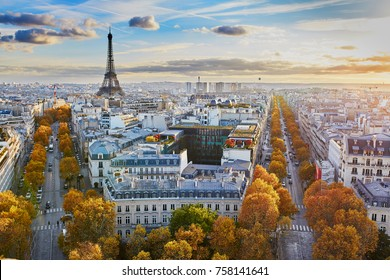 Aerial panoramic cityscape view of Paris, France with the Eiffel tower on a fall day