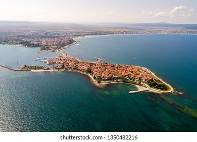 Aerial panoramic drone view of bulgarian coastline