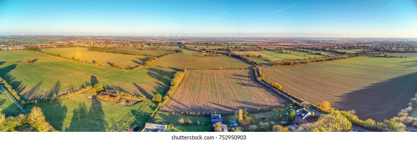 Aerial panoramic of Essex countryside (Southminster) in Autumn