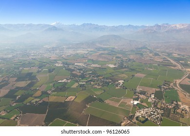 Aerial Panoramic of Farming Town on the Outskirts of Santiago, Chile