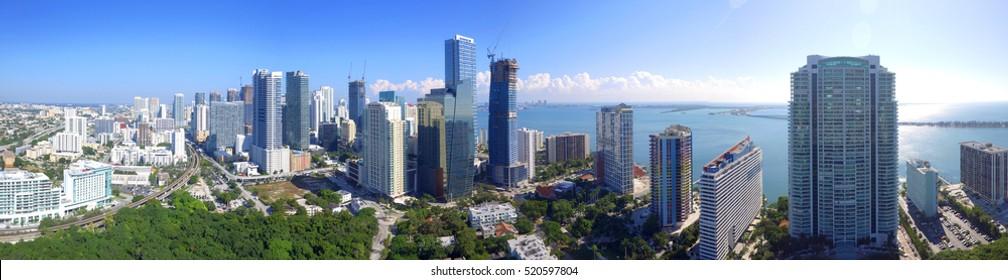 Aerial panoramic image of Brickell Miami FL