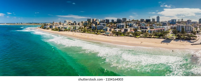 Aerial panoramic image of ocean waves on a Kings beach, Caloundra, Queensland, Australia