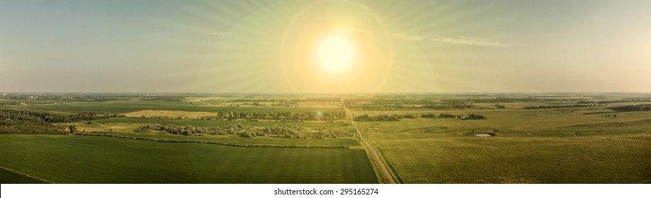 An aerial panoramic image of a South Dakota Landscape taken from 300 feet above ground with a large multirotor aircraft, drone / UAV.