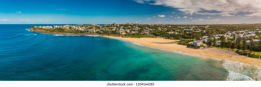 Aerial panoramic images of Dicky Beach, Caloundra, Queensland, Australia
